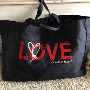 Victoria's Secret Black Love Tote/Gym Bag NWT